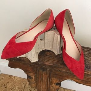 J. Crew Red Suede Two Part Flats Pointy Toe